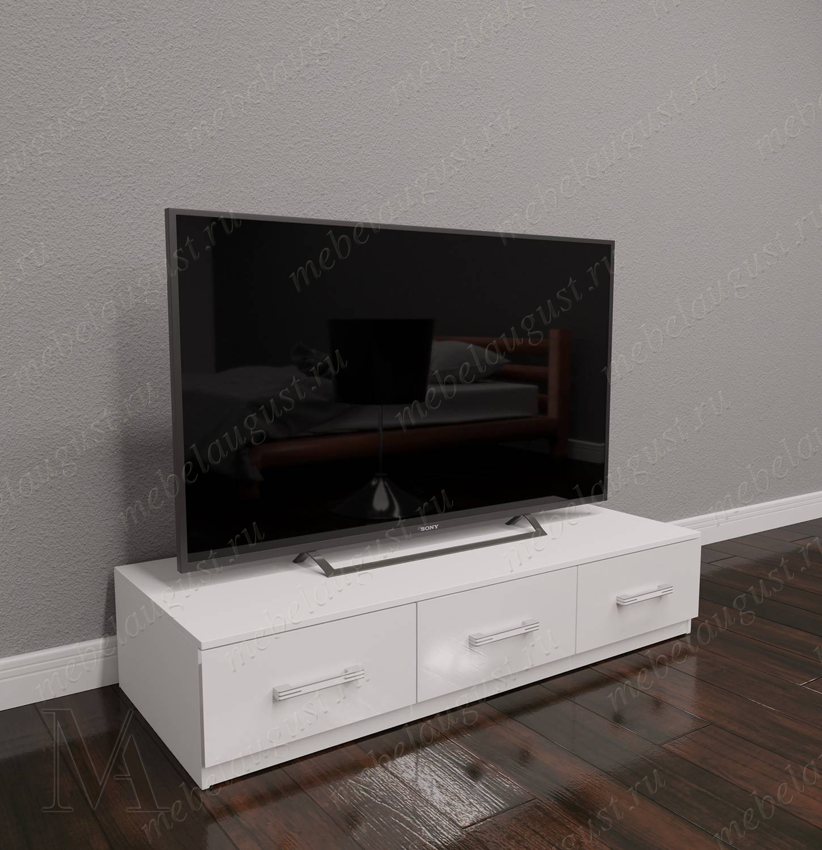 Белый глянцевый комод в гостиную под тв с тремя выдвижными ящиками