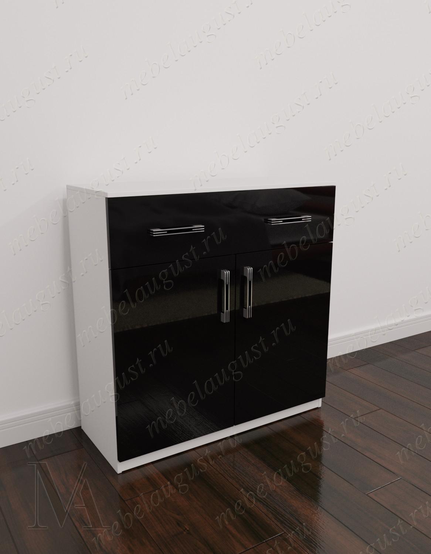 Комод обувница для спальни с дверками и ящиками цвета черно-белый глянец