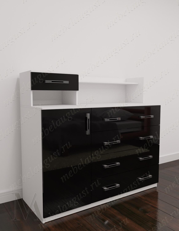 Черно-белый глянцевый широкий комод в спальню с дверками и ящиками