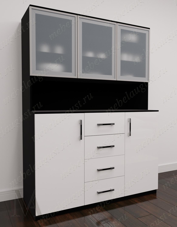 Черно-белый глянцевый широкий комод витрина в гостиную