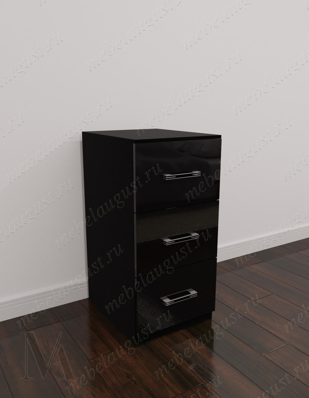 Черный глянцевый мини комод с тремя выдвижными ящиками в спальню
