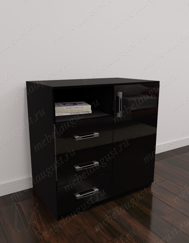 Маленький комод с полками с тремя ящиками цвета черный глянец