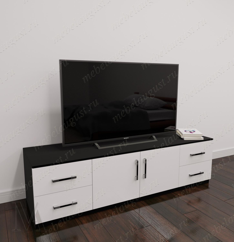 Черно-белый глянцевый невысокий комод в зал с полкой под телевизор