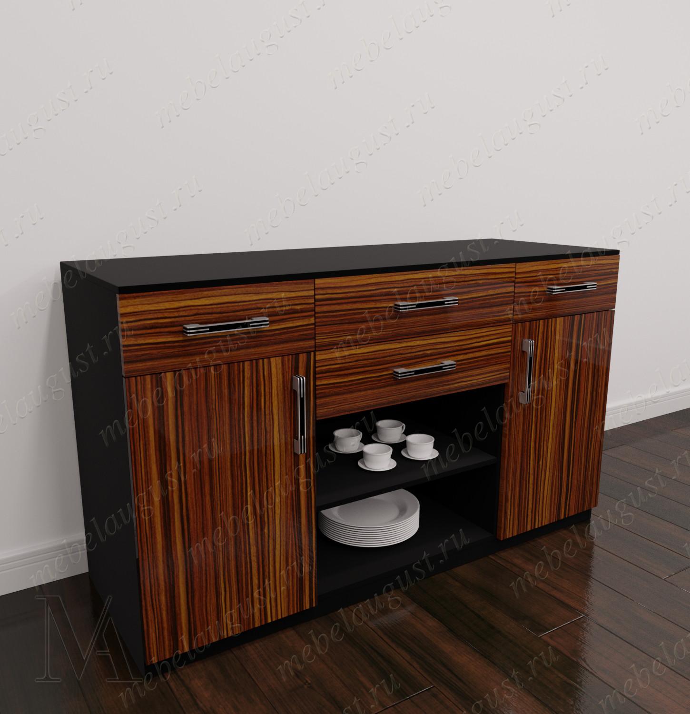 Глянцевый комод в гостиную с полками для посуды с дверками и ящиками