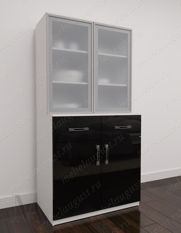 Комод сервант в гостиную с 2-мя ящиками цвета черно-белый глянец
