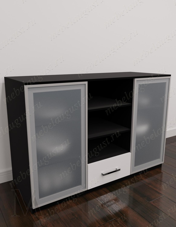 Черно-белый глянцевый комод с полками в кабинет с 1-м выдвижным ящиком
