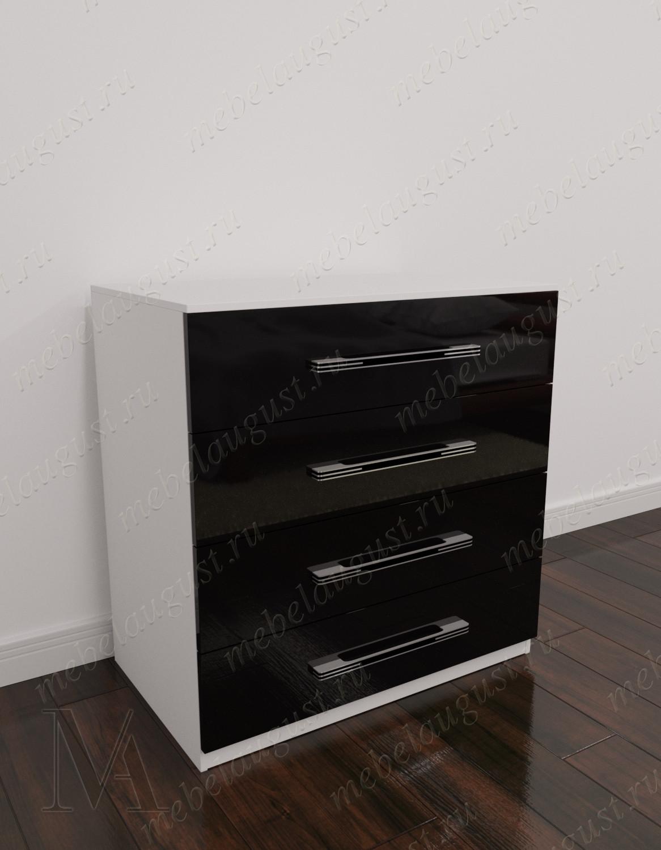 Черно-белый глянцевый бельевой комод для спальни с четырьмя выдвижными ящиками