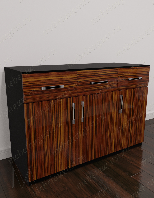 Комод в кабинет с 3-мя выдвижными ящиками с дверками и ящиками