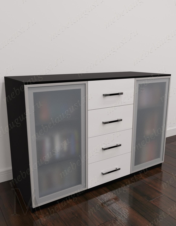 Комод витрина в зал с 4-мя ящиками цвета черно-белый глянец