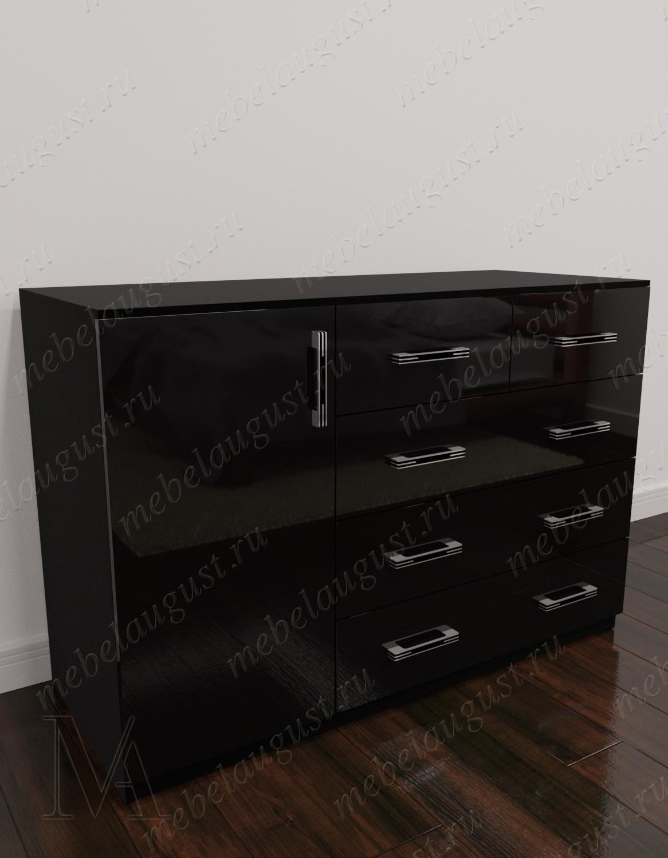 Комод для белья для спальни с дверками и ящиками цвета черный глянец