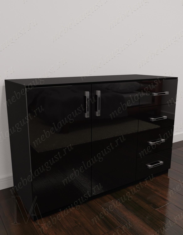 Комод с 4-мя выдвижными ящиками в спальню с дверками и ящиками цвета черный глянец