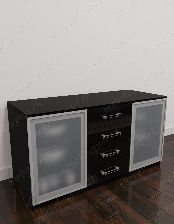 Черный глянцевый комод в гостиную с 4-мя выдвижными ящиками с дверками и ящиками