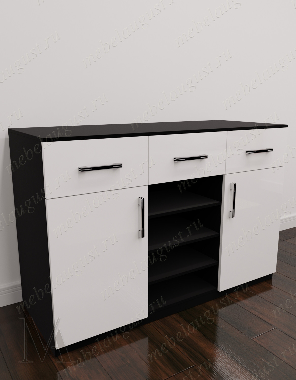 Черно-белый глянецевый комод в прихожую с 3-мя ящиками с местом для обуви