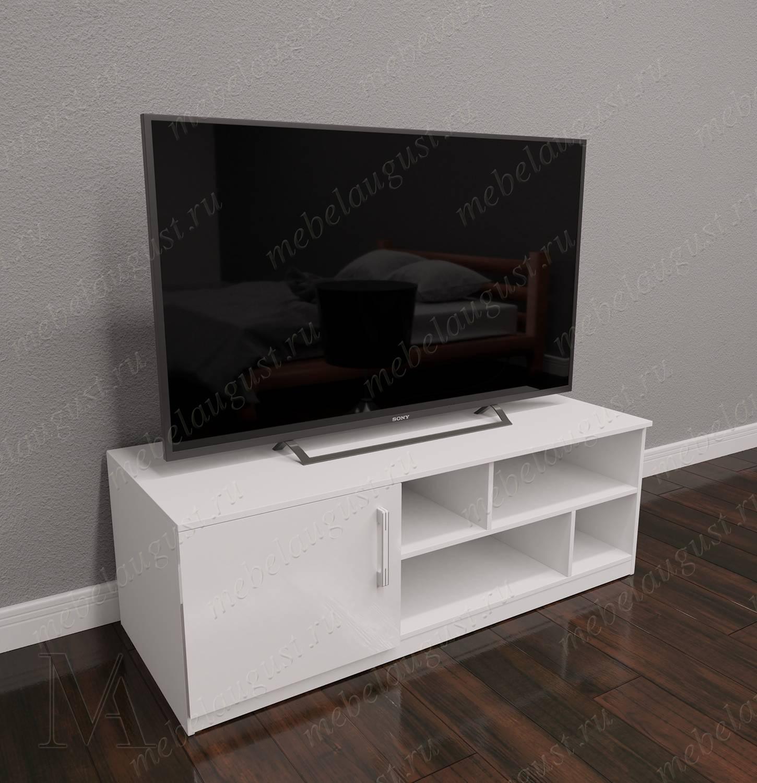 Мини комод в гостиную с полкой для телевизора цвета белый глянец