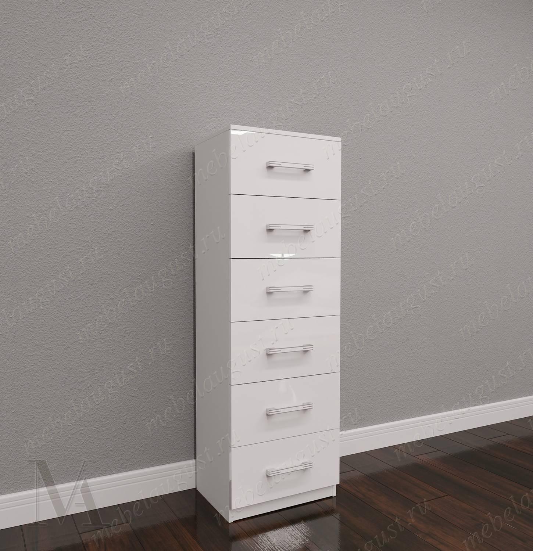 Высокий комод в кабинет с шестью выдвижными ящиками цвета белый глянец