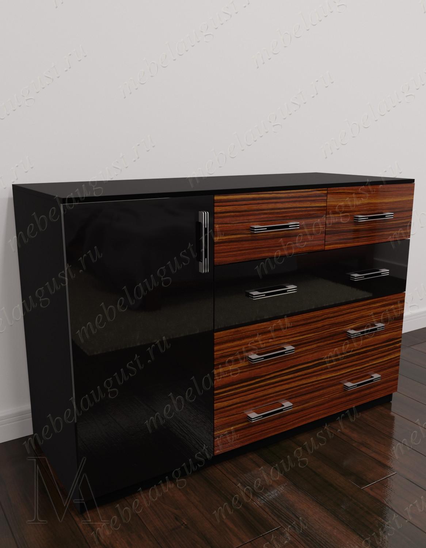 Глянцевый комод для спальни с 4-мя ящиками с дверками и ящиками