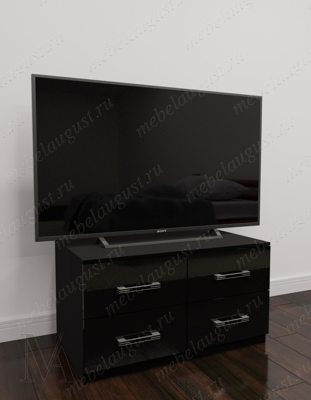 Черный глянцевый маленький комод под телевизор с 4-мя ящиками