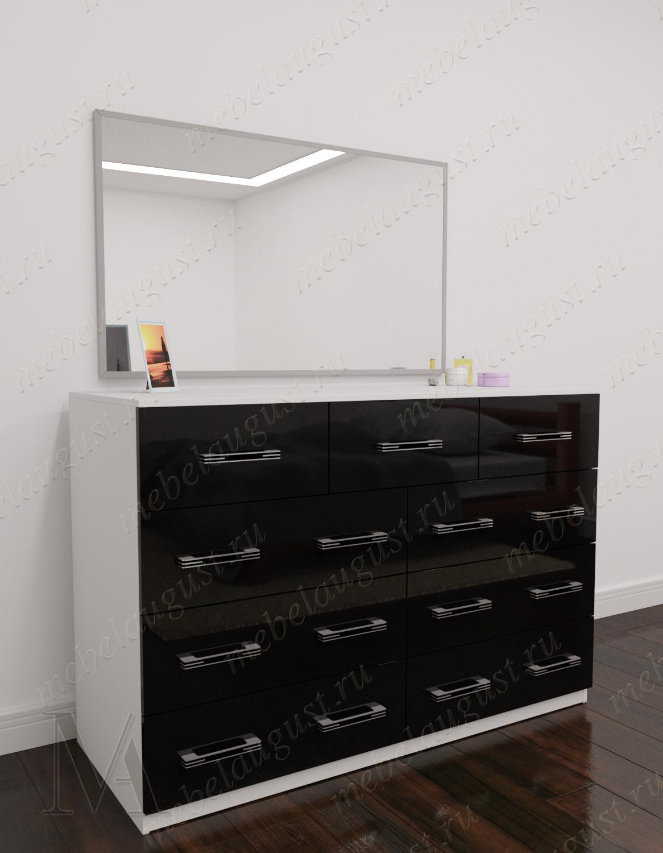 Черно-белый глянцевый широкий комод для белья с зеркалом