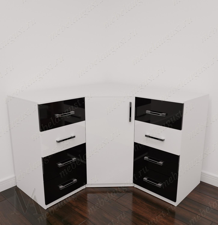 Угловой комод для белья в спальню цвета черно-белый глянец