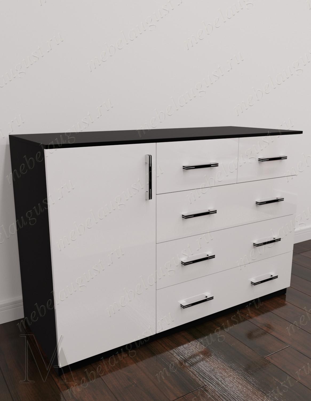 Комод для белья с 4-мя ящиками с дверками и ящиками цвета черно-белый глянец