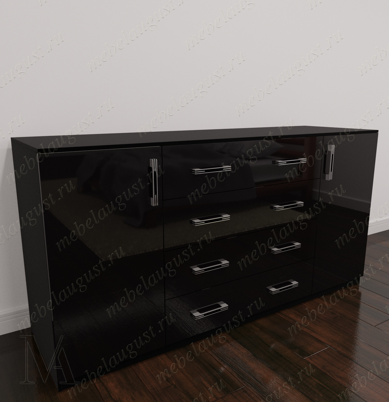 Черный глянцевый длинный комод для спальни с четырьмя выдвижными ящиками