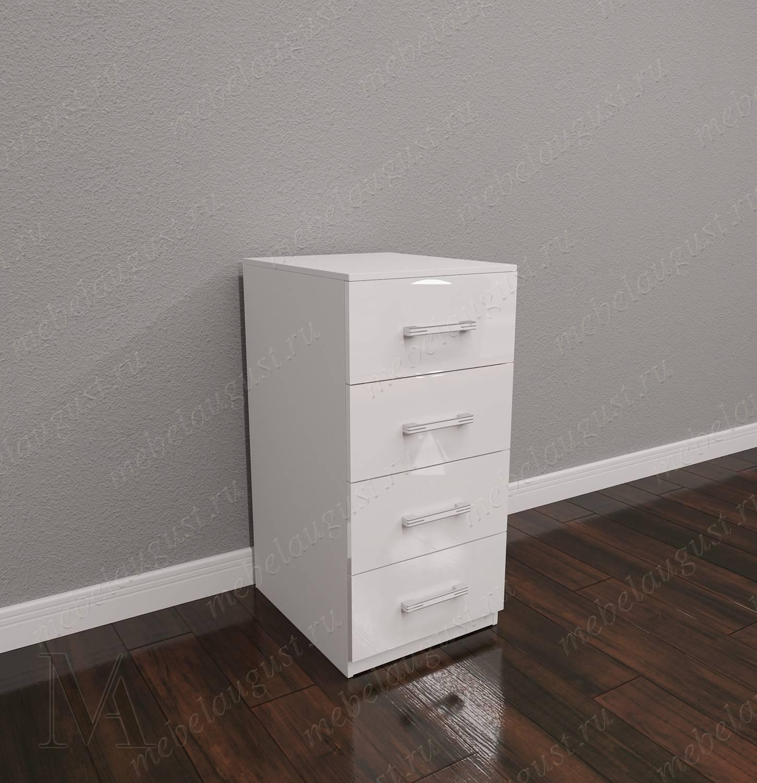 Белый глянцевый бельевой комод для спальни с 4-мя выдвижными ящиками