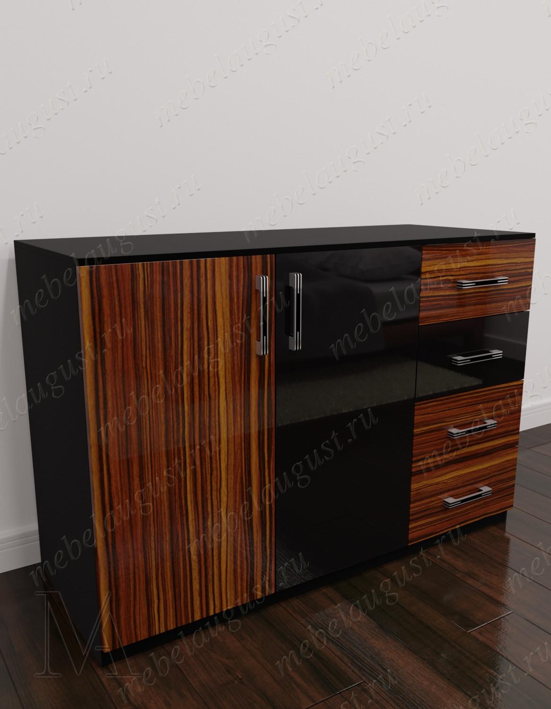 Комод с 4-мя выдвижными ящиками в спальню с дверками и ящиками цвета макасар