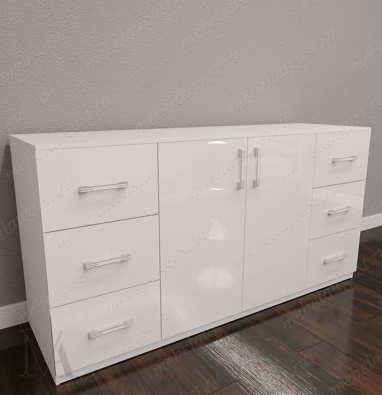 Комод с 6-ю выдвижными ящиками в спальню с дверками и ящиками цвета белый глянец