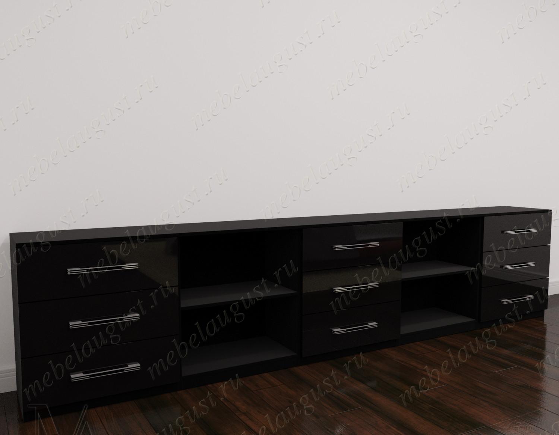 Длинный комод с полками в кабинет цвета черный глянец