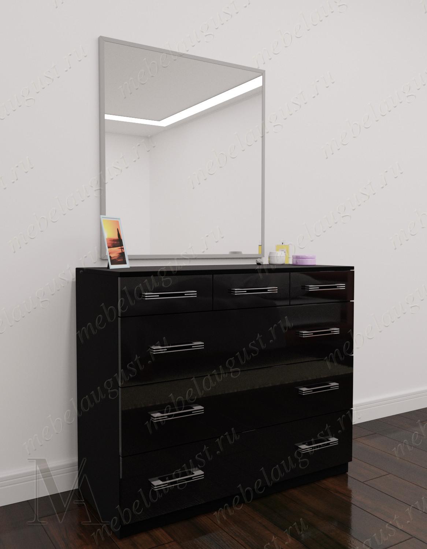 Черный глянцевый комод для белья для спальни с зеркальной дверью