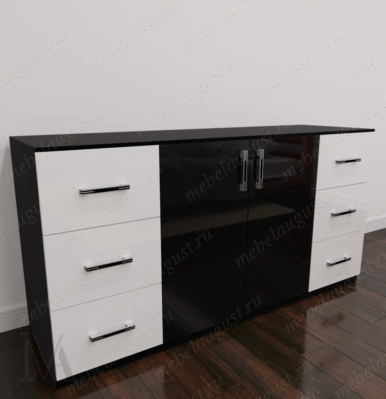 Черно-белый глянцевый бельевой комод с 6-ю ящиками в спальню