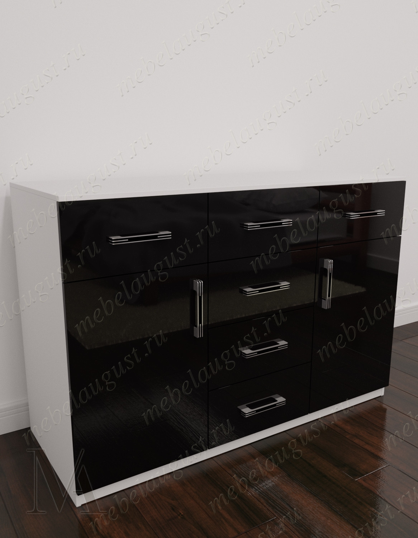 Комод для белья с шестью выдвижными ящиками с дверками и ящиками цвета черно-белый глянец
