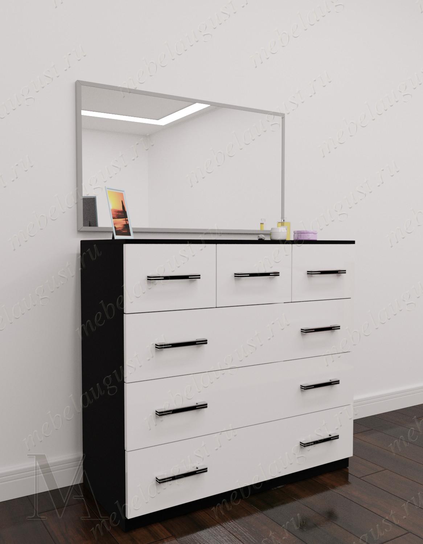 Бельевой комод для спальни с 6-ю выдвижными ящиками цвета черно-белый глянец