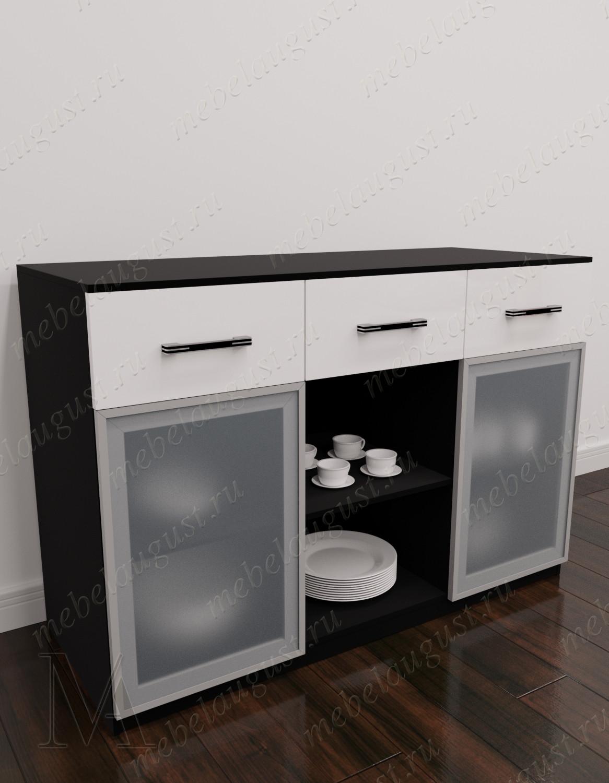Черно-белый глянцевый комод с полками в гостиную с 3-мя ящиками