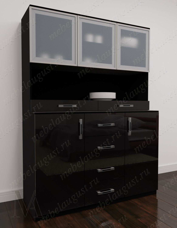 Черный глянцевый комод витрина в зал с полками для посуды