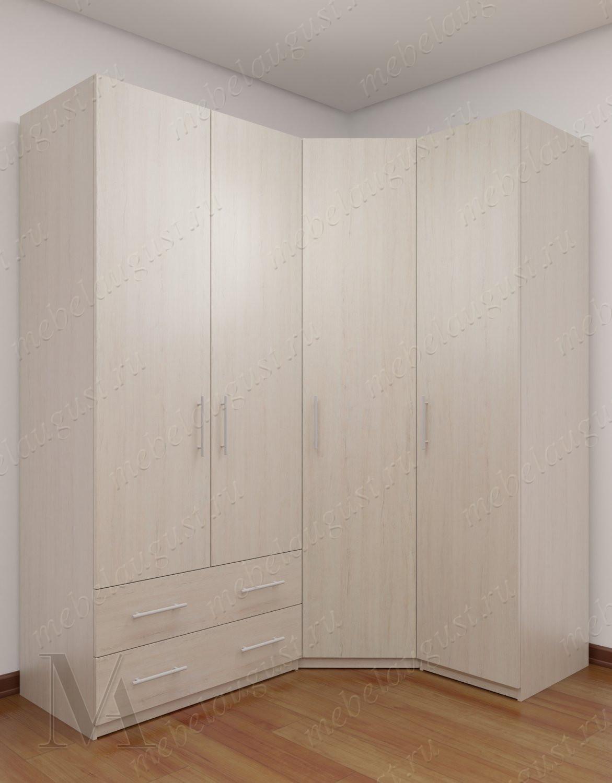 Четырехдверный шкаф с распашными дверями с ящиками в спальню