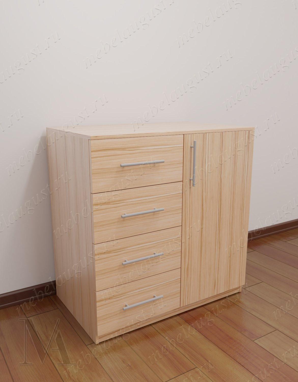 Комод для белья с четырьмя выдвижными ящиками в спальню