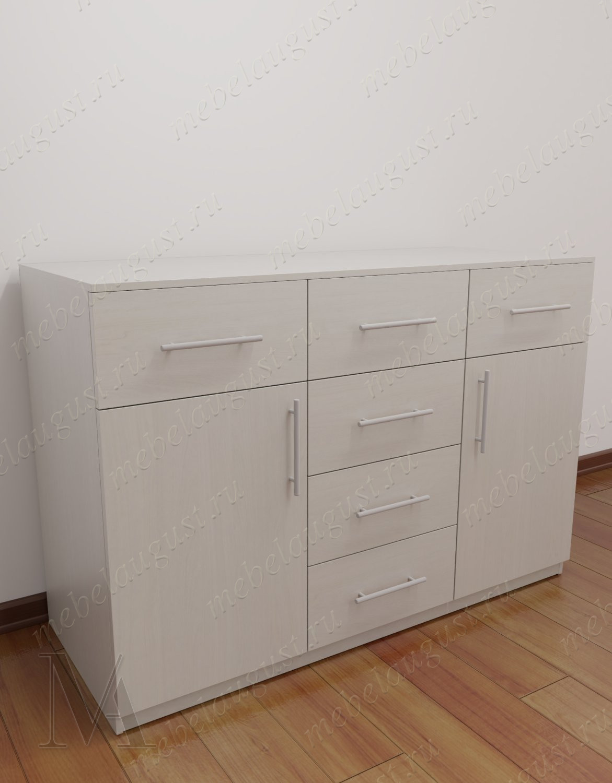 Бельевой комод с шестью ящиками с дверками и ящиками цвета дуб сонома темный