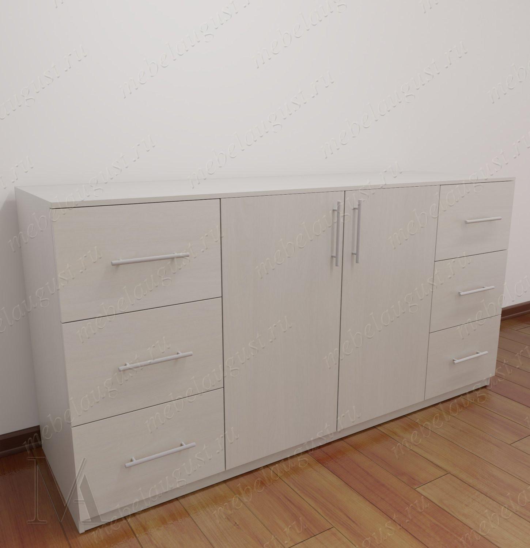 Широкий комод в спальню с дверками и ящиками