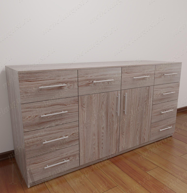 Широкий комод для спальни с дверками и ящиками