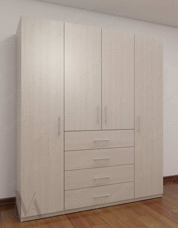 4-дверный распашной шкаф с ящиками в спальню