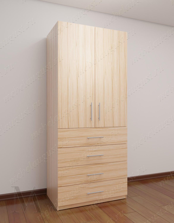 Платяной шкаф для спальни с выдвижными ящиками шириной 80-90 см