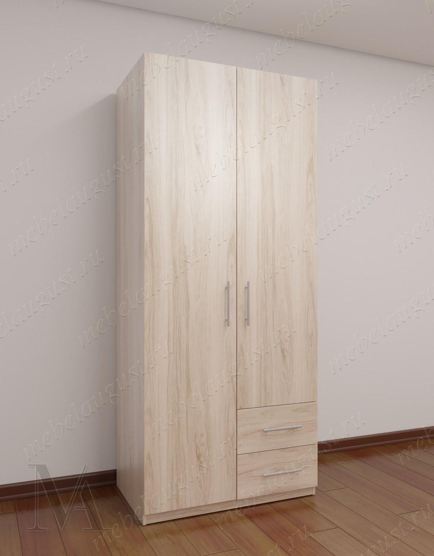 Двухдверный распашной шкаф в прихожую с ящиками для мелочей цвета ясень анкор светлый