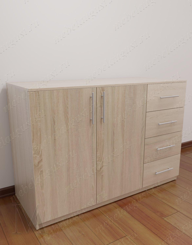 Комод для белья с четырьмя ящиками с дверками и ящиками