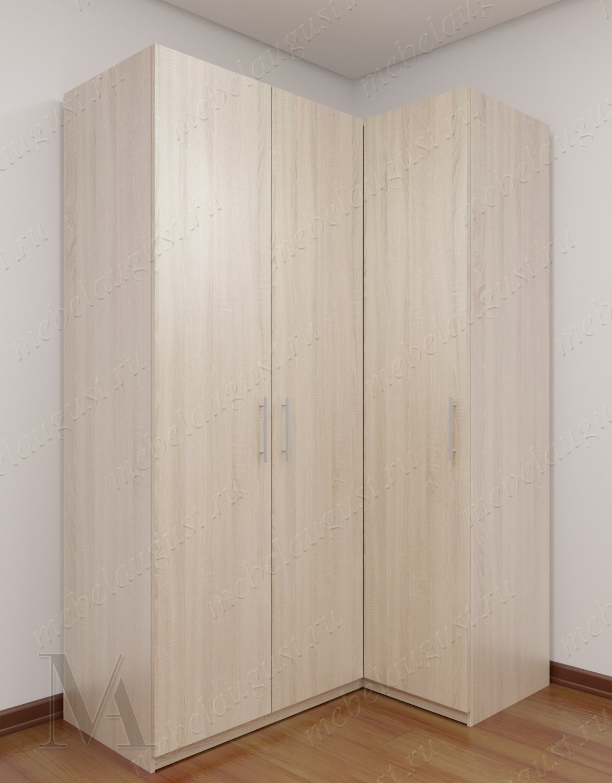 Широкий угловой распашной шкаф в коридор