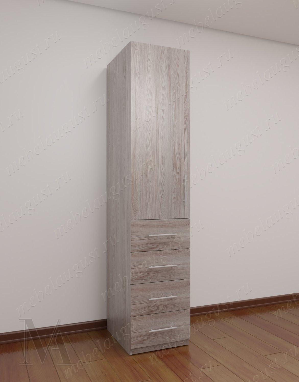 Платяной шкаф пенал для спальни с ящиками для мелочей