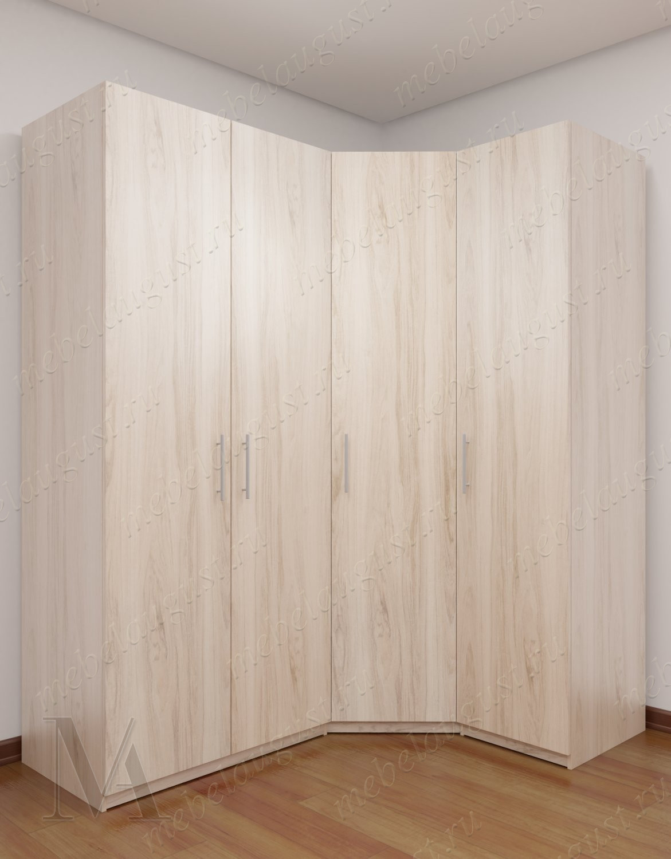 4-дверный угловой шкаф с распашными дверцами для спальни