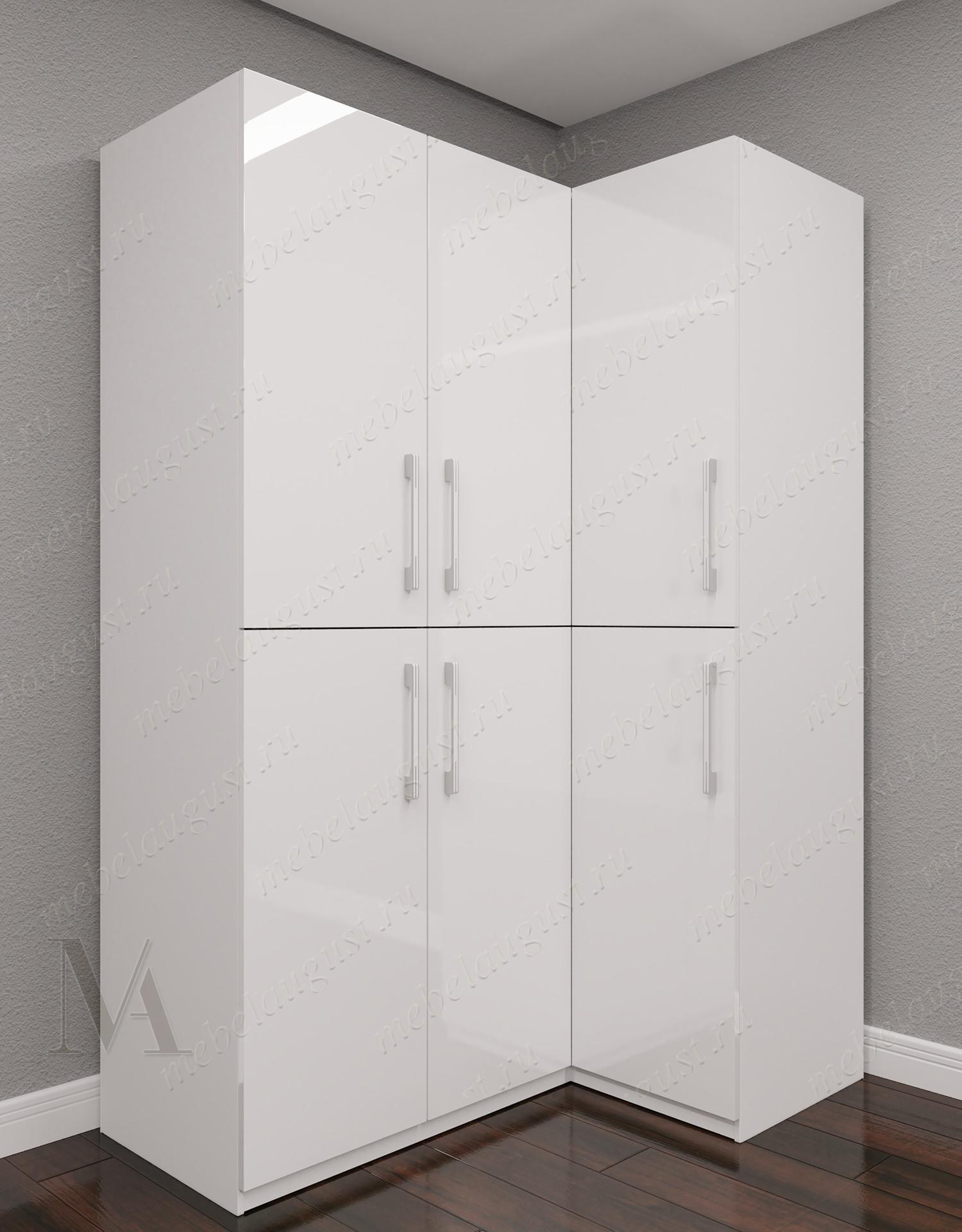3-дверный угловой распашной шкаф для одежды для спальни цвета белый глянец