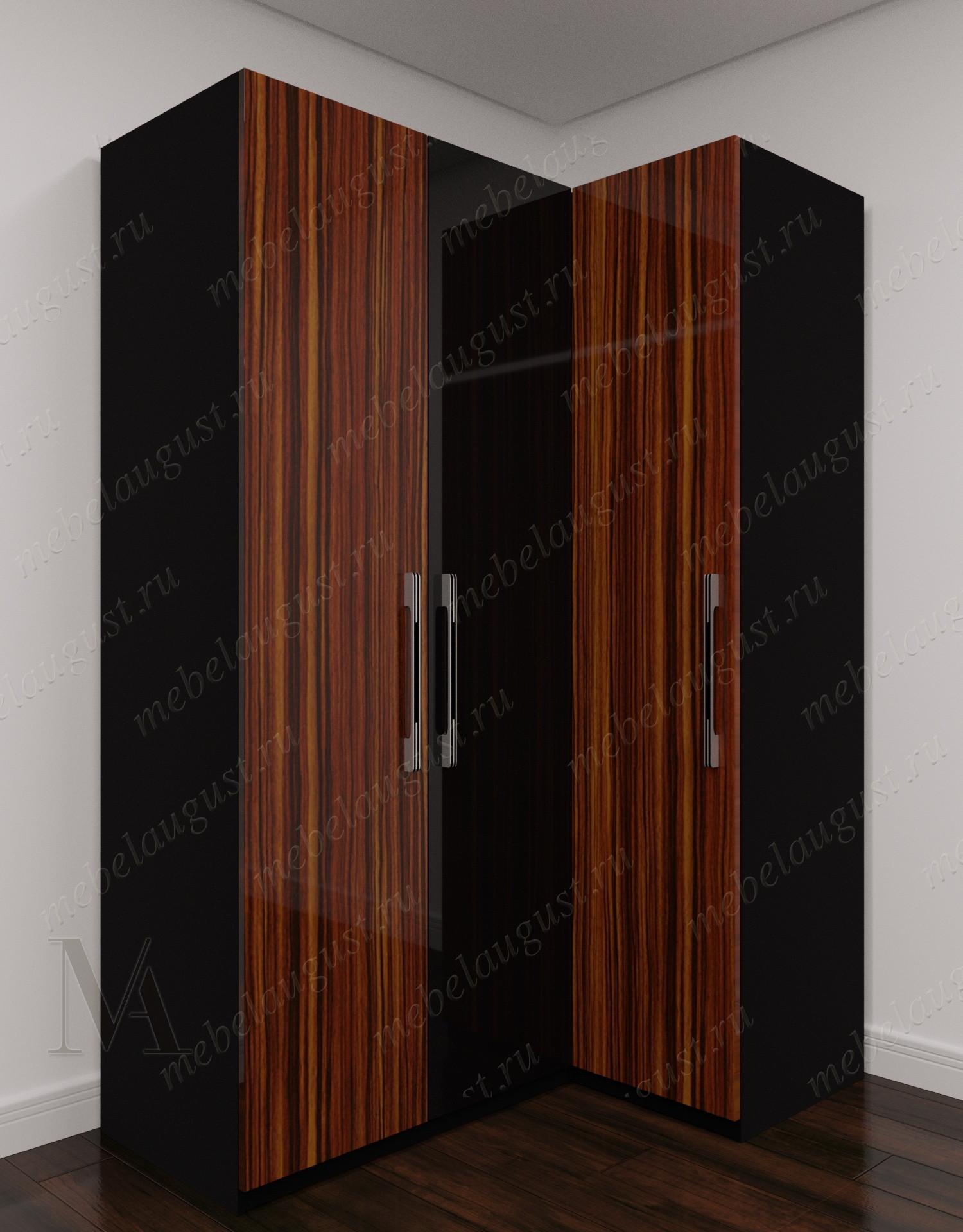 Трехстворчатый угловой распашной шкаф для одежды в прихожую