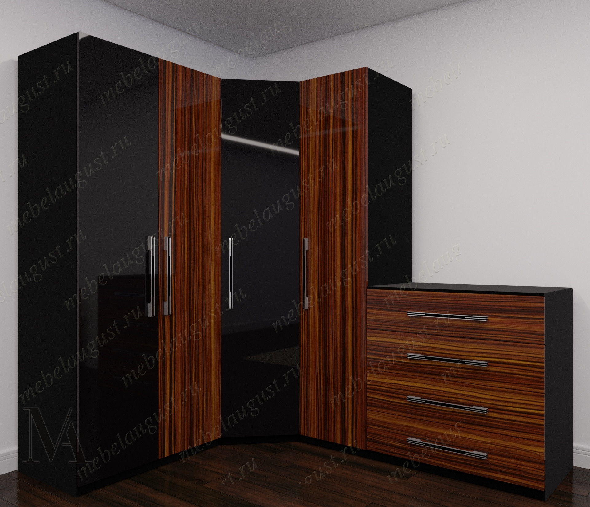 Глянцевый широкий модульный распашной шкаф для одежды в спальню